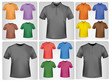 Black and colored polo shirts. Photo-realistic vector.