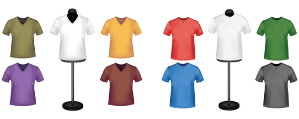 Colored shirts and a mannequins. Photo-realistic vector.