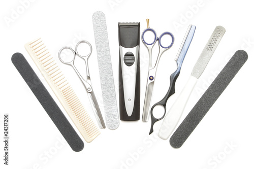 Professional hairdressing, manicure and pedicure tools. Comb, cl