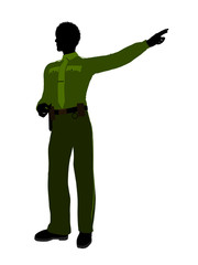 African American Male Sheriff Art Illustration Silhouette