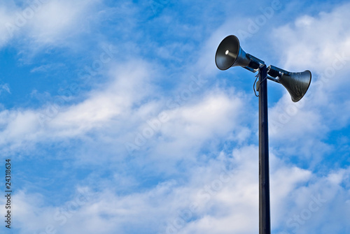 Loudspeaker Tower Against Blue Sky