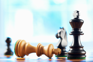 chess winner defeats white king