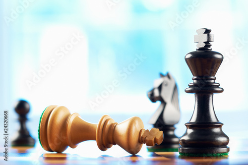 canvas print picture chess winner defeats white king