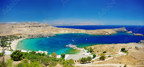 View at  Lindos Bay-  Rhodes island, Greece