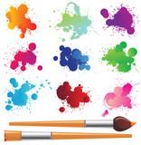 Fototapety set of splashes and paintbrushes