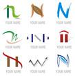 Ensemble d'Icones Lettre N pour Design Logos