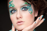 Close-up portrait of sprite girl with faceart poster