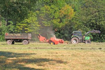heu, traktor, maschine, anhänger