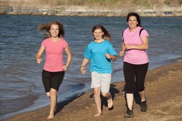 mom girls running