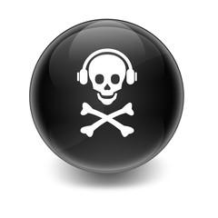 Esfera brillante con simbolo musica pirata