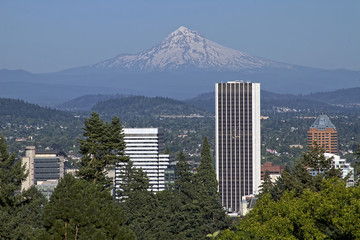 Portland Oregon Skyline and Mount Hood