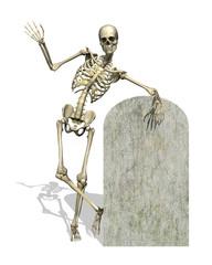 Skeleton with Blank Gravestone - 3D render