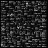 OPTIMISM. Word collage with different association terms. poster