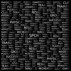 SPORT. Word collage on black background.