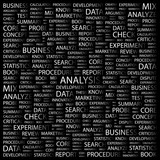ANALYSIS. Word collage with different association terms. poster