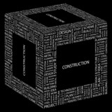 CONSTRUCTION. Word collage on black background.