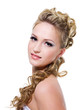 Bride with beautiful wedding hairstyle