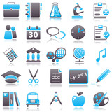 Fototapety school Blue Icons