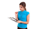 thinking young woman with pen and clipboard