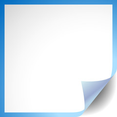 White paper with corner curl and blue outline