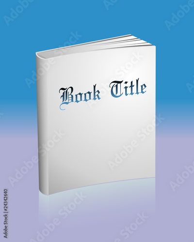 Blank white book with reflection and sample title