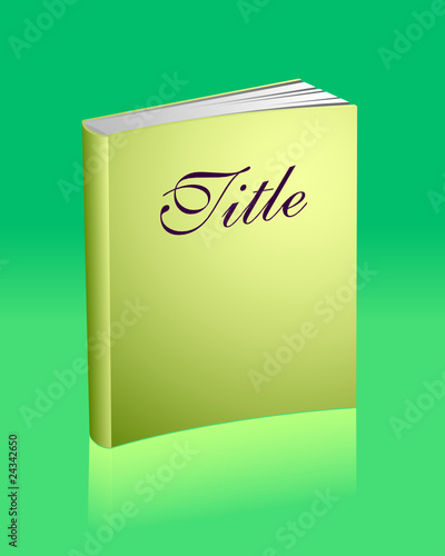 Blank golden book with reflection and sample title
