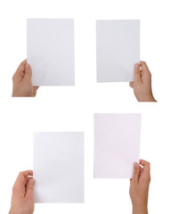 hand holding paper sheet with clipping paths