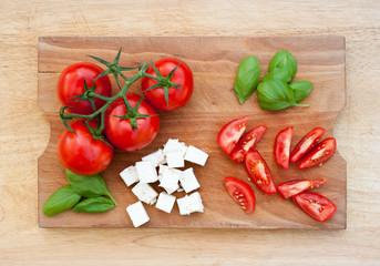 Fresh tomatoes, basil and cheese