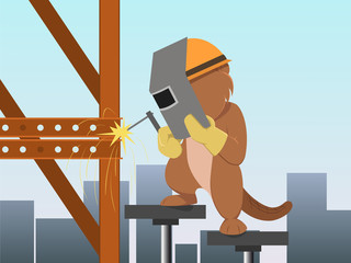Cartoon beaver in mask welding structure