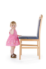Infant with chair