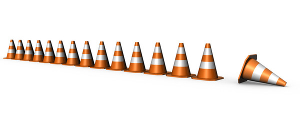 traffic cones arranged in line- do not enter interdiction zone
