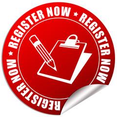 Register now sticker