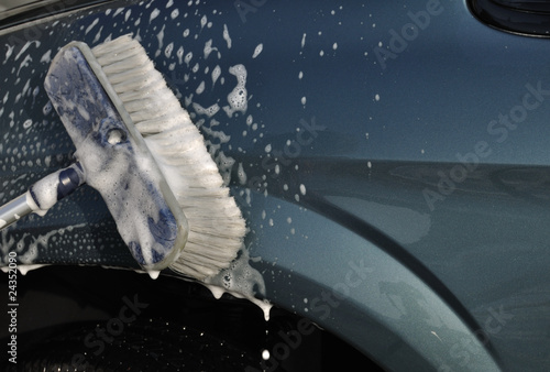 Washing Car with Scrub Brush