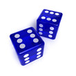 Lucky dice - two blue transparent dice over white
