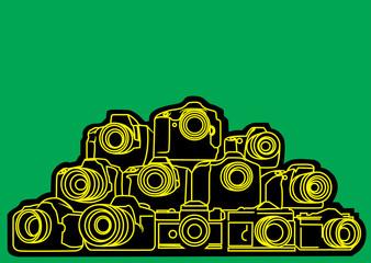 lot of DSLR cameras