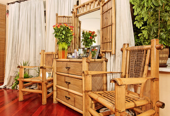 Wooden ethnic bamboo boudoir furniture