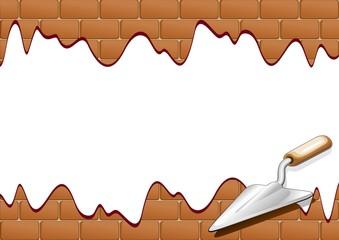 Muro di Mattoni con attrezzo da Lavoro