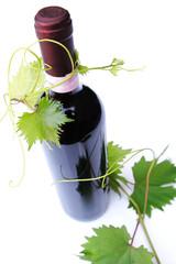 bottiglia di vino rosso con foglie di vite 2