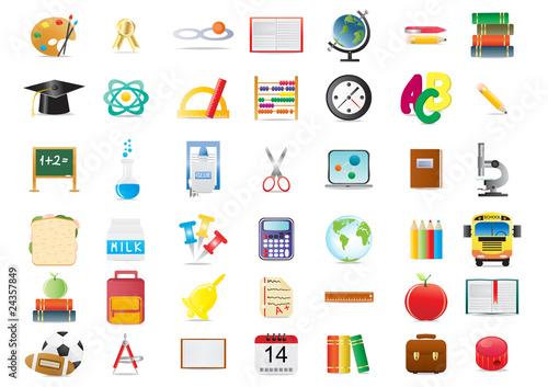 Vector illustration of school education icons