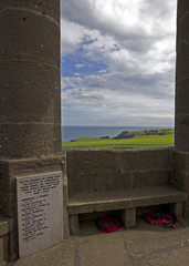 Looking from Stonehaven War Memorial to Dunnottar Castle