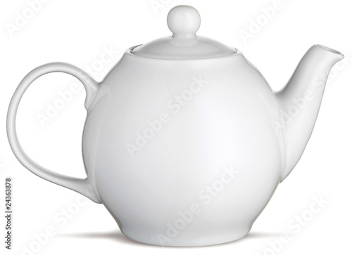 white china tea pot teapot on a white background - 24363878