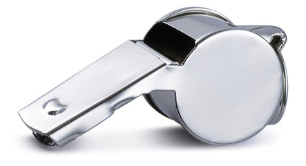 chrome silver referee pea whistle on a white background