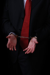 white collar on handcuffs
