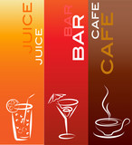 Fototapety beverage icons; design template