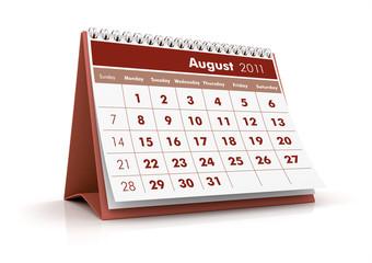 2011 calendar. August