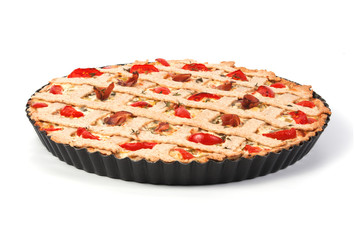 Vegetable tart with tomatoes and prosciutto isolated on white ba