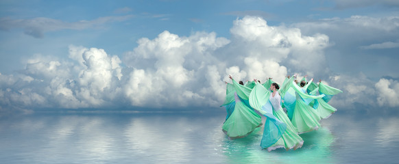 girls in green dresses on the dance