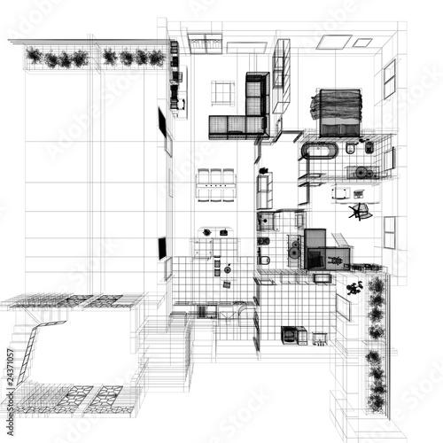 Pianta ortogonale casa wireframe cad arredamento de for Cad arredamento
