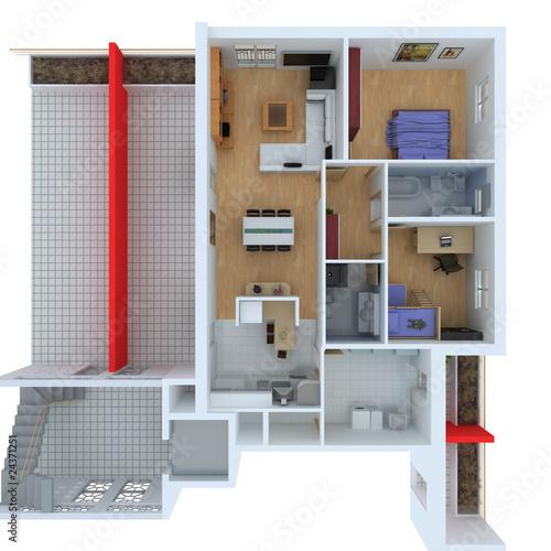 Pianta ortogonale casa wireframe cad arredamento di for Arredamento cad