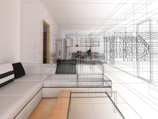 salotto rendering 3d wireframe